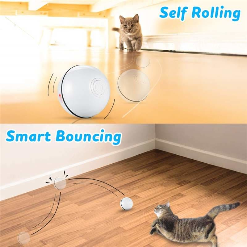 Smart Interactive Pet Toy Ball Automatic Rolling USB Rechargeable Led Light Pet Toy Training Home Cat and Dog Toy Glowing Balls