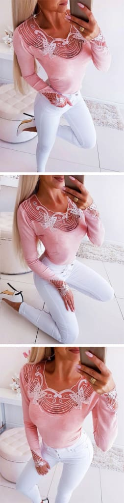 Women Long Sleeve T-Shirts Patchwork Design Lace Diamond Decor See Through O-Neck Solid Top Elegant Lady Autumn Slim Shirts