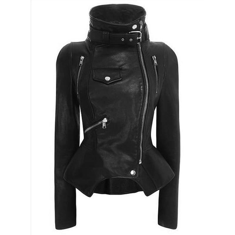 Motorcycle Leather Gothic Jacket Women Faux Leather Fashion Black Faux Coats Trend Jacket Streetwear