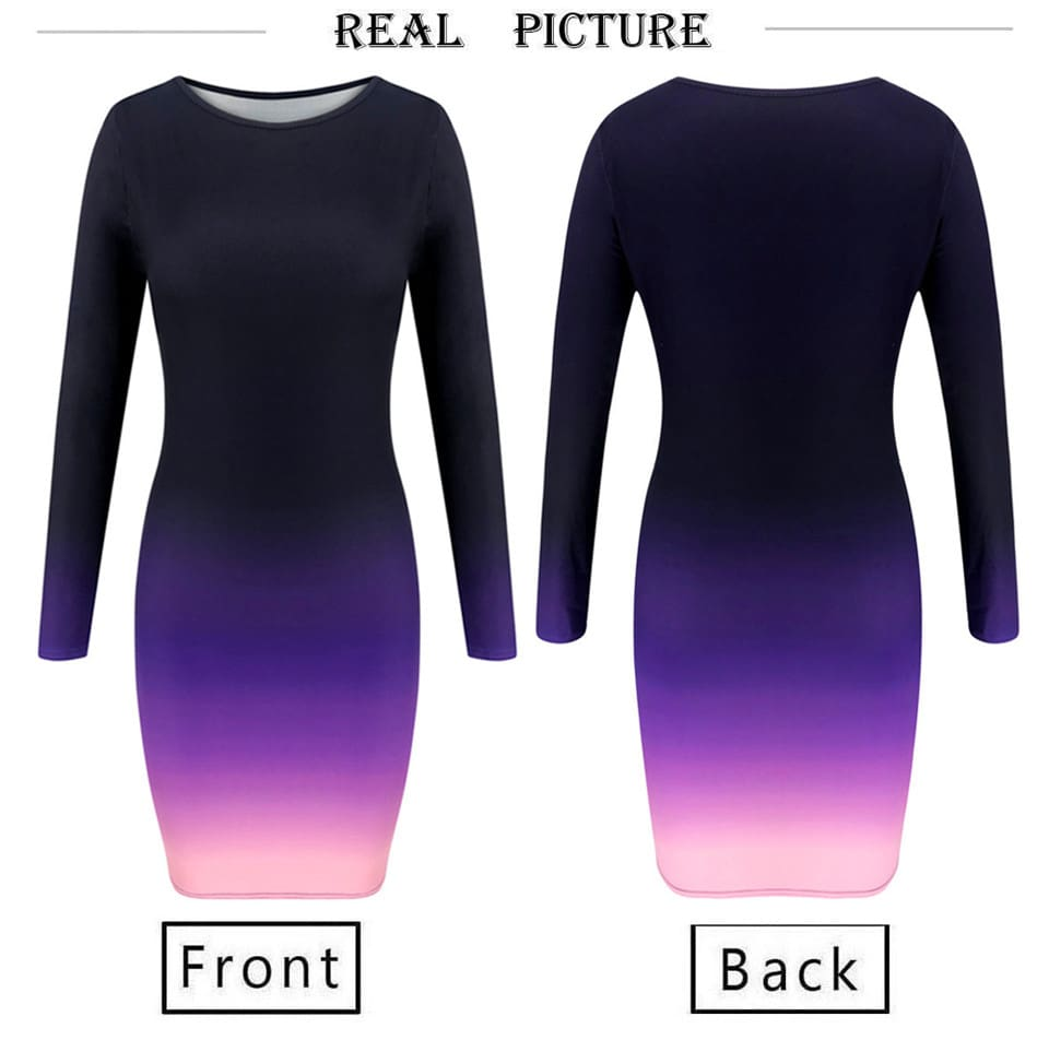 Women Long Sleeve Dress for Streetwear Fashion O-Neck Gradient Print Bodycon Elegant Lady Autumn Winter Slim Hips Party Dress