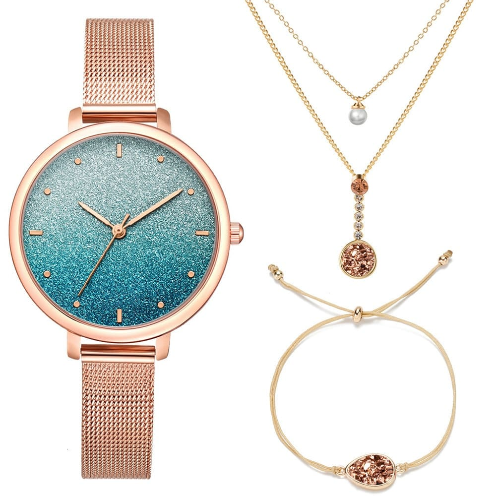 Stardust Watch Women Necklace Bracelet Set (3PCS/Set) Womens Watches Stainless Steel Mesh Starry Sky Quartz Female Wrist Watch