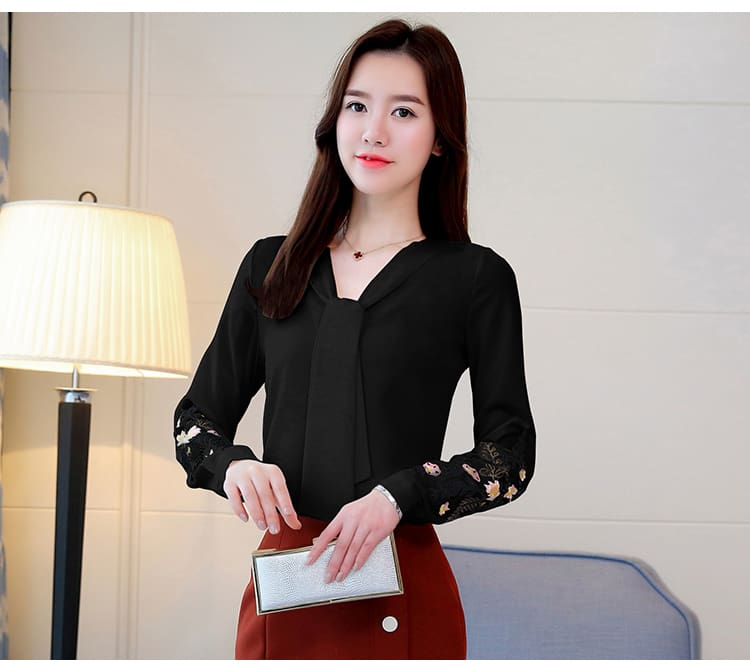 Long sleeve embroidery chiffon blouse womens tops and blouses shirt 2019 office lady shirt women tops blusas feminine blouse
