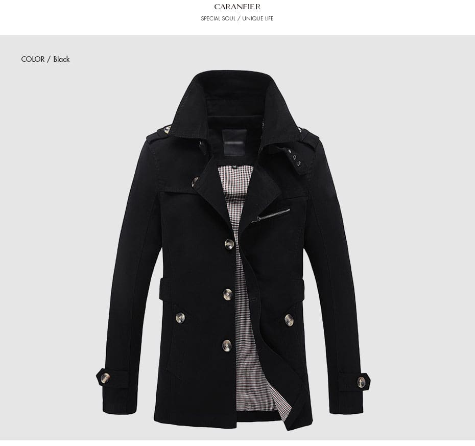 Overcoats Top Quality Autumn Outwear Business Single Breasted Coats