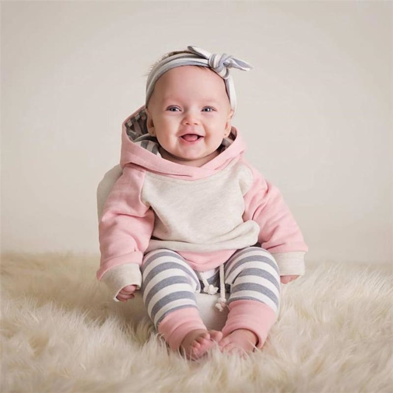 TELOTUNY  3pcs Toddler Baby Boy Girl Clothes Set Hoodie Tops+Pants+Headband Outfits Hot Sale Comfortable Clothes C0309 #30      07