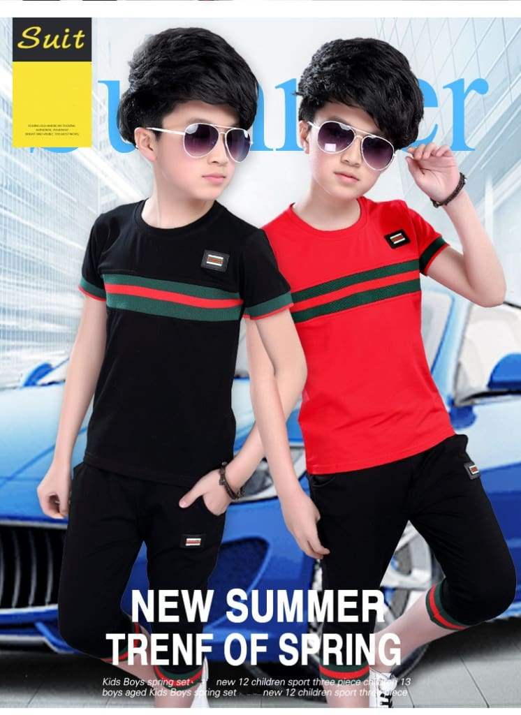 Casual Active Boys Clothes Set Summer Girls Teenage T Shirt Shorts Children Suit 2019 Kids Outfits Sports Clothing For Boys 2Pcs (2)