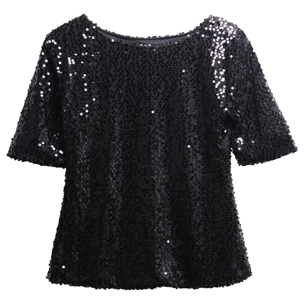 New Hot Sale Latest Summer Fashion Ladies Sloping Shoulder Short Sleeve Glistening Sequin Slim Shirt Tops Women T Shirts