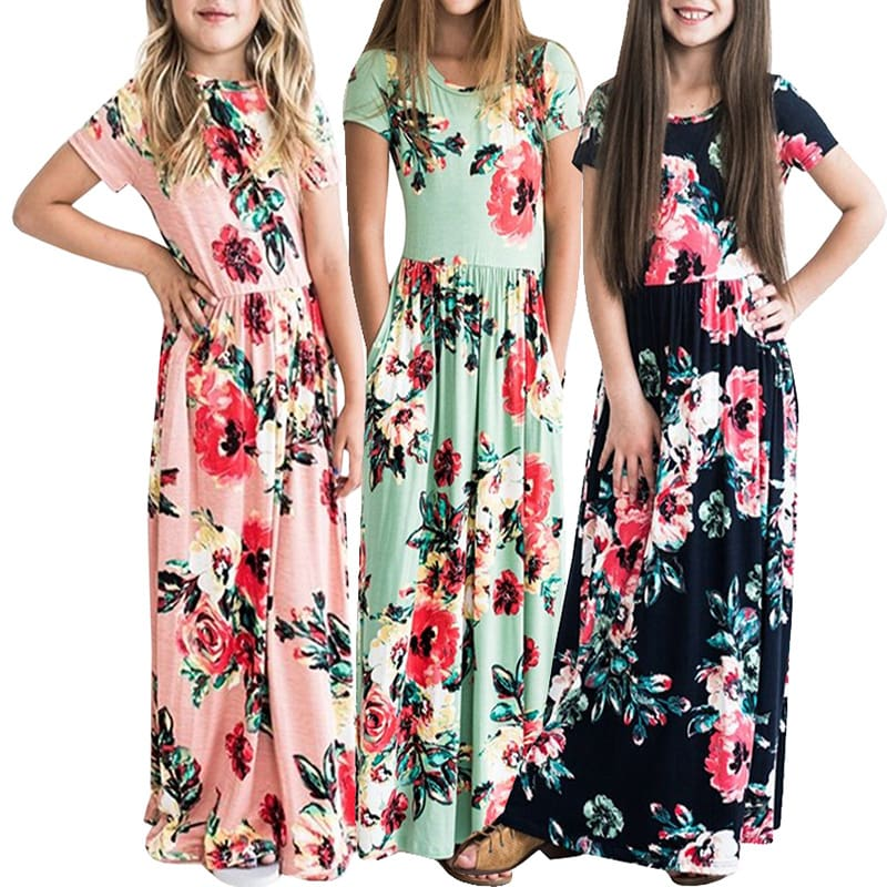 Maxi Girls Summer Dresses Elegant Kids Clothes