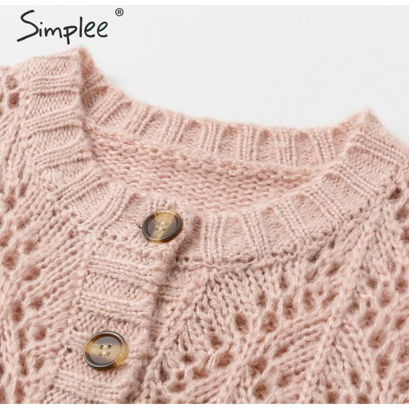 Hollow out crohect knitted cardigan sweater Women winter lady sweater Long sleeve high waist female outwear jumper 2019