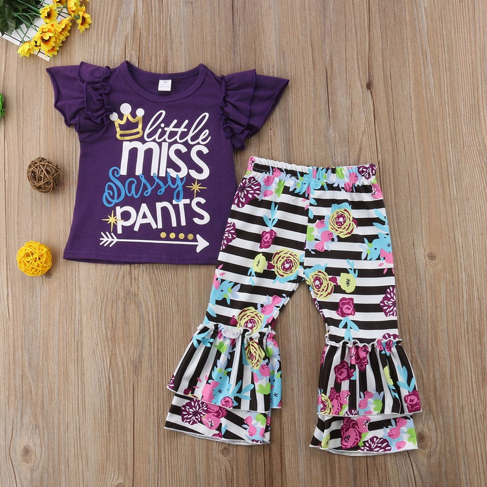 2PCS Toddler Girls Kids Ruffle T-Shirt + Floral Pants Leggings Outfits Clothes