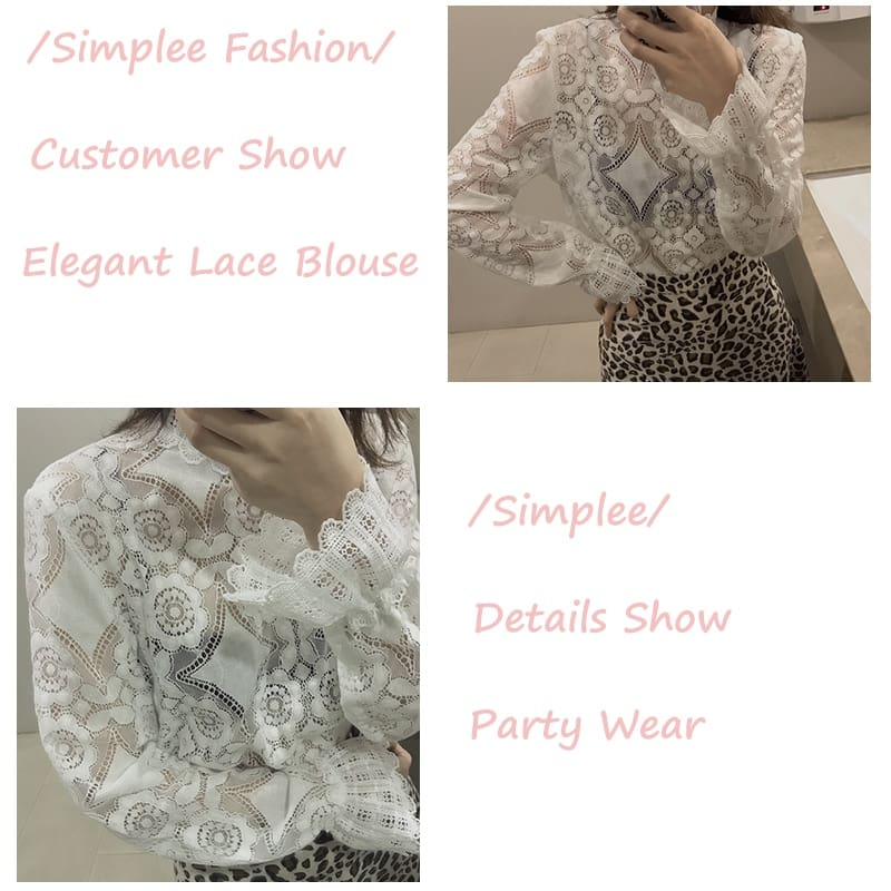 Elegant white lace blouse shirt Sexy hollow out embroidery feminine blouse Women long lantern sleeve summer tops female