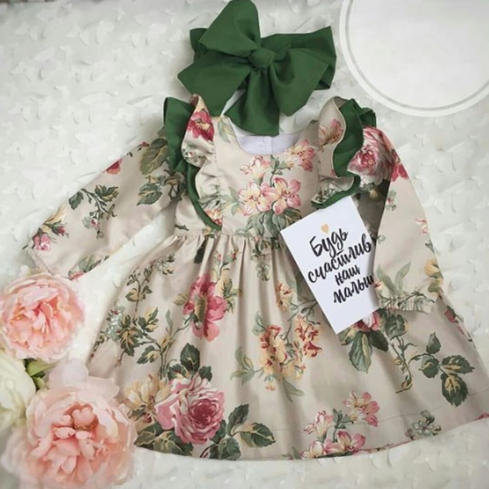Baby Girl Floral Long Sleeve Party Pageant Prom Tutu Dress