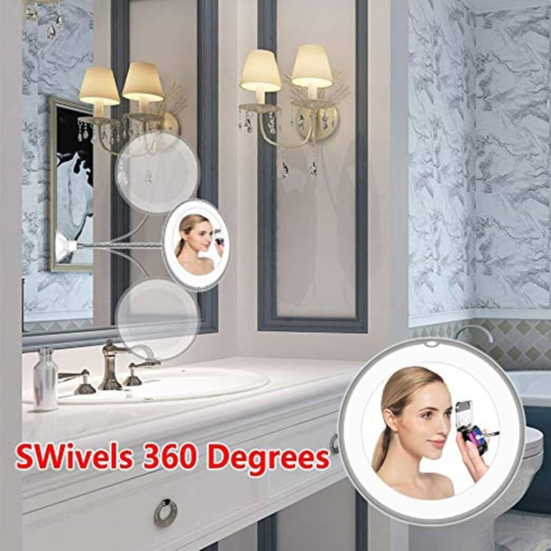 360 Degree Rotation 10X Magnifying LED Makeup Mirror