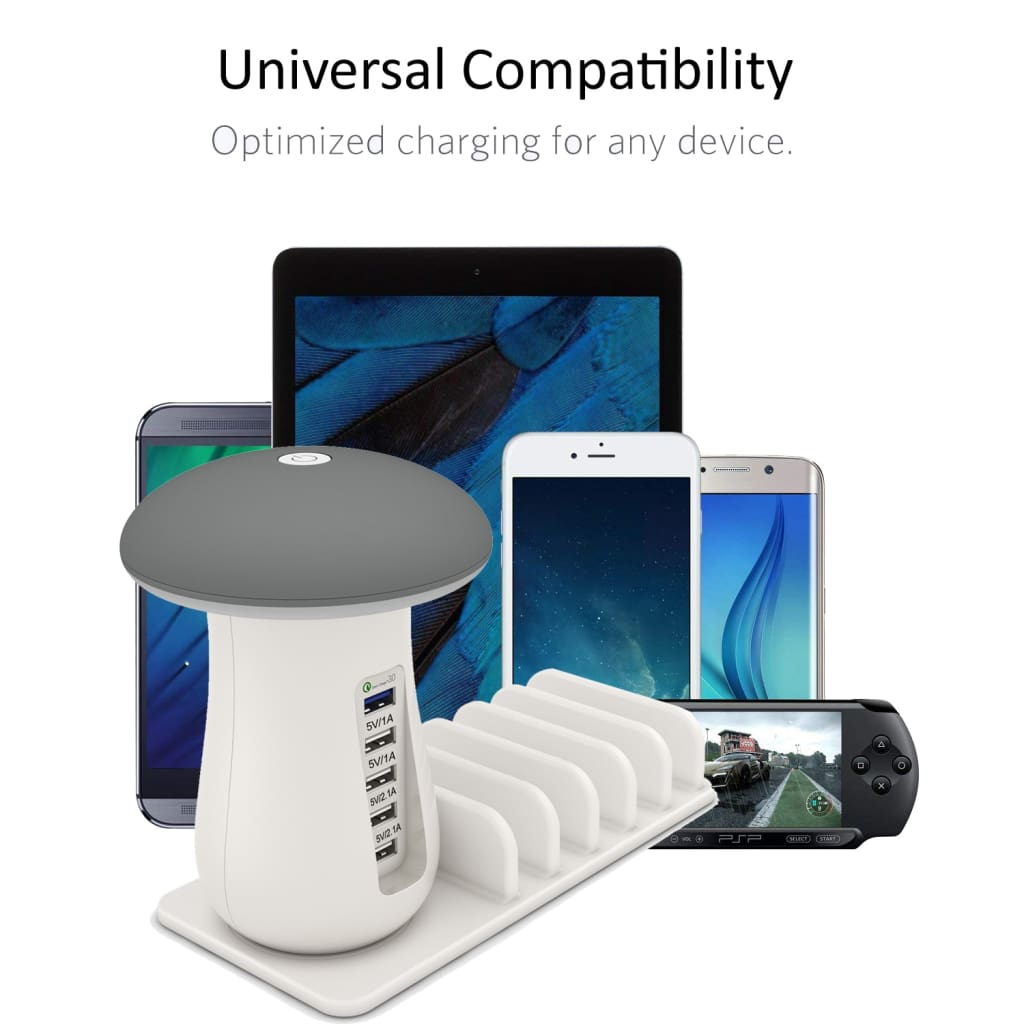 Multi Port Quick charger 3.0 Mushroom Lamp QC3.0 Charge for smart phone Led Lamp USB Charging Station Dock
