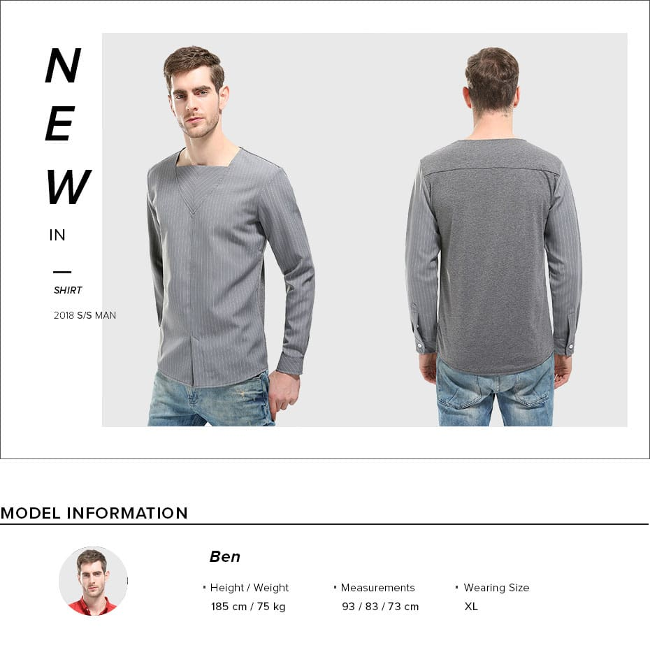 CARANFIER New Men Shirts Simple Striped Fashion Pullovers Male Long Sleeve Shirts Casual Square Collar Cotton Slim Youth Tops
