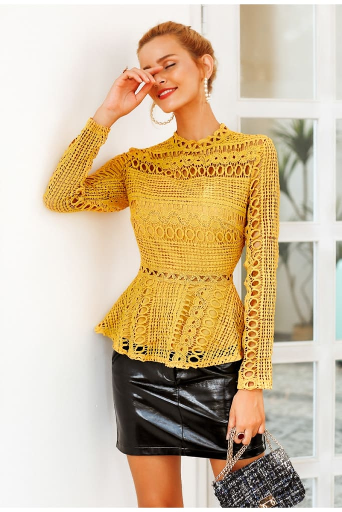 Elegant lace hollow out blouse for women