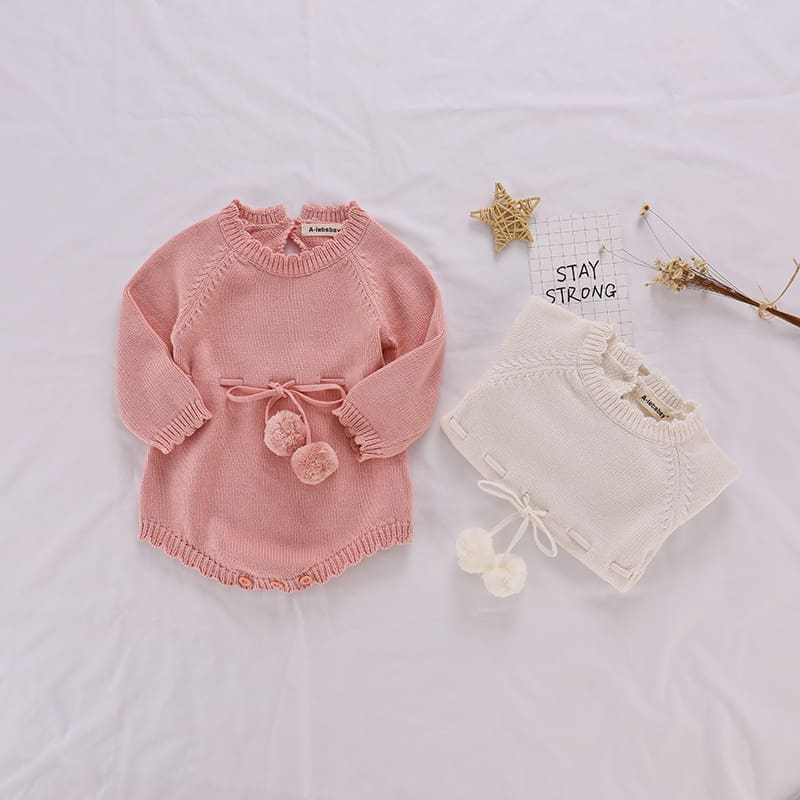 Autumn Baby Knitted Rompers Sweater Baby Girl Long-sleeve Knitted Overalls Infant Girl Princess Cotton Clothes Baby Girl Romper