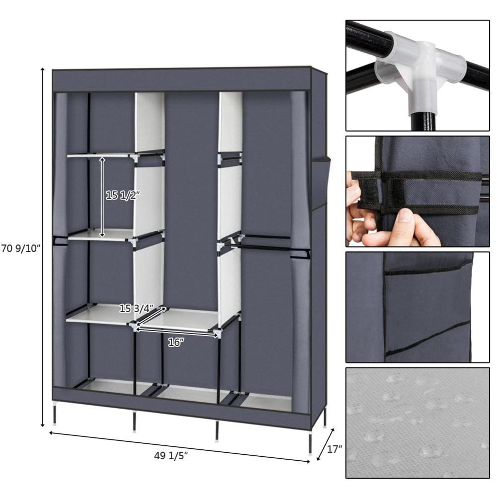 71 Portable Clothes Closet Non-Woven Fabric Wardrobe Foldable Assembly 4 Layer 8 Grid Double Rod Storage Organizer Gray