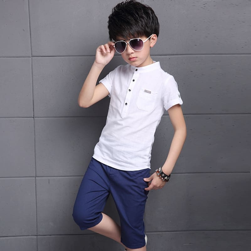 Cotton Short Sleeve T Shirt +pant Boys and Girls Two Sets of Large Childrens Sport Suit