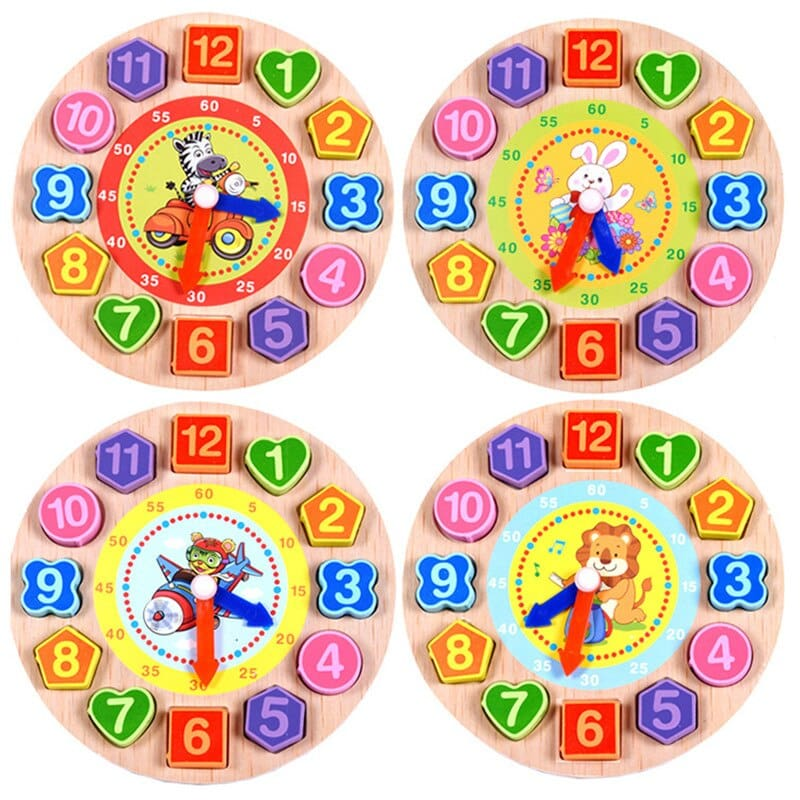 Digital Color Clock Wood Watch Jigsaw Wooden Cognitive Toys Cartoon Animal Threading Block Assembly Toys Math Learning Kids