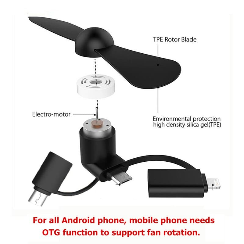 3 IN 1 Travel Portable Cell Phone Mini Fan Cooling Cooler For Micro USB C For iPhone 5 6 6S 7 Plus 8 X for Android Type-c