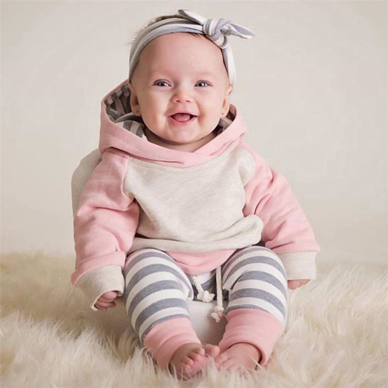 TELOTUNY  3pcs Toddler Baby Boy Girl Clothes Set Hoodie Tops+Pants+Headband Outfits Hot Sale Comfortable Clothes C0309 #30      02