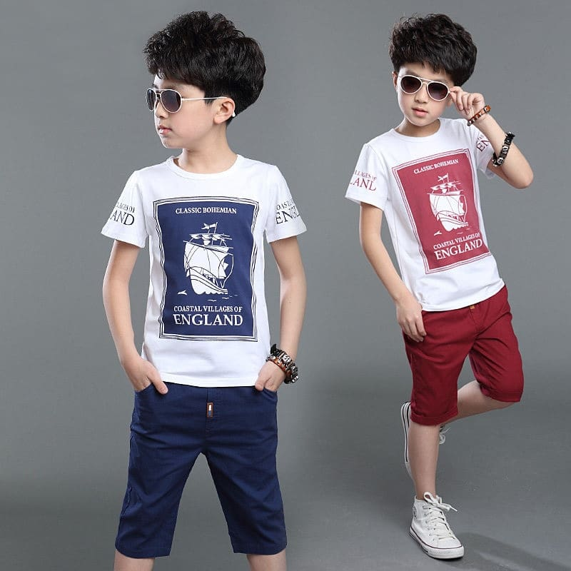Children Boys Clothing Set Cotton Summer Navy Blue Red Pullover Boat Print T Shirt Shorts Boy Sports Suit