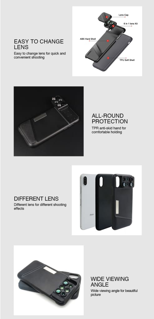 Camera Lens Phone Case for iPhone XR XS Max Fisheye Wide Angle Macro Lens Phone Cover Mobile Phone Lensese Case Full Coverage