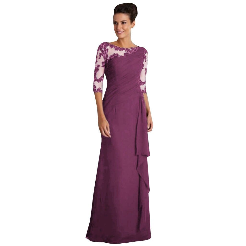 Maxi Long Dress Lace Stitching Round Neck Half Sleeve Everying Party Dress