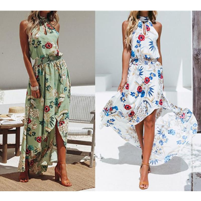 New Summer Hot Sexy Women Boho Floral Maxi Long Dress Evening Party Beach Side Slit Sundress Woman Ladies Sleeveless Dresses W3