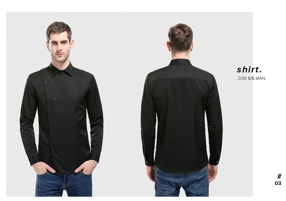 Shirts High Quality Long-Sleeved Slim Fit Business Mens Clothes