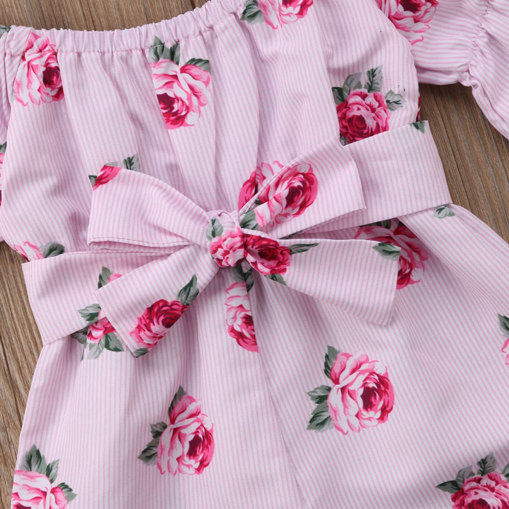 Spring Summer Baby Girls Rompers Baby Girl Clothes Floral Belt Three Quarter Cotton Jumpsuit