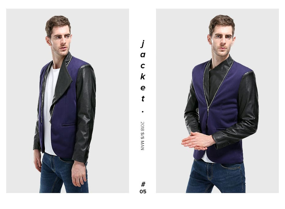 Outerwear Simple Solid Fashion Zipper Pu Leather Men Jackets