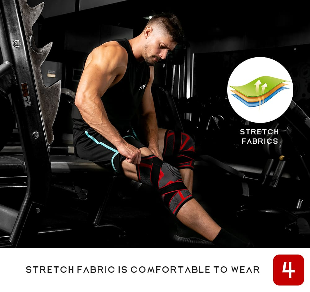 1PC New Band Removable Pressurized Knee Pads Braces Knee Support Crossfit Fitness Running Sports Knee Protector Knee Sleeve