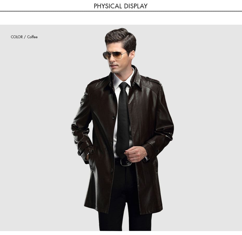 Leather Jackets Winter Motorcycle Coats Solid Slim Fit Outerwear