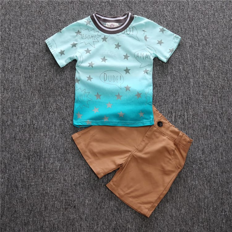 Boys sets of clothes for spring suit boys long sleeve plaid shirt + jeans + Vehicle Printing 3 pcs set