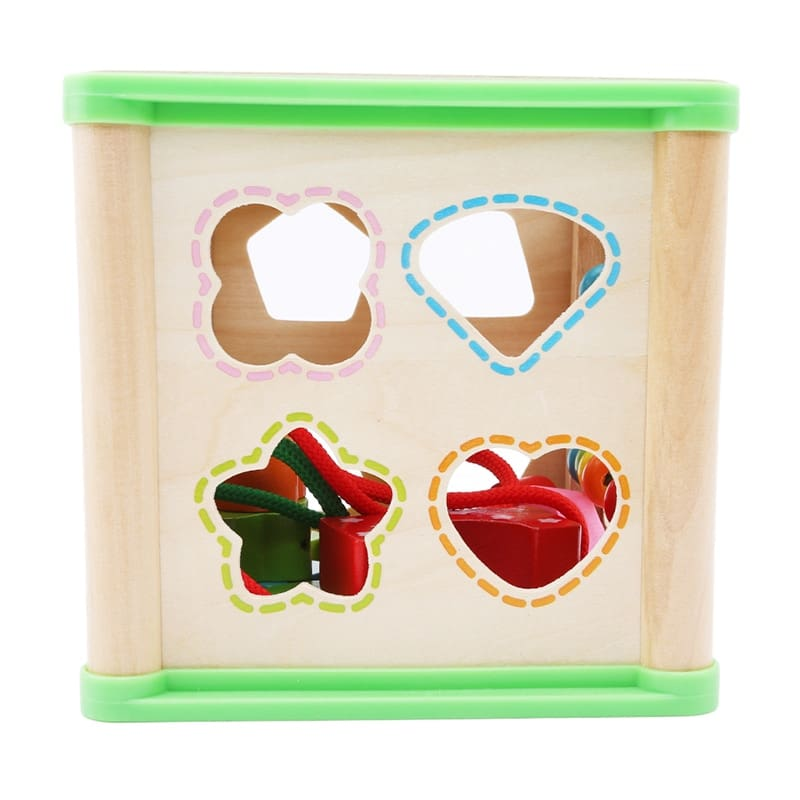 Multifunction Four Sides Treasure Chest Beaded Box Wooden Montessori Colorful Bead Math Toy Learning Education Toys For Children