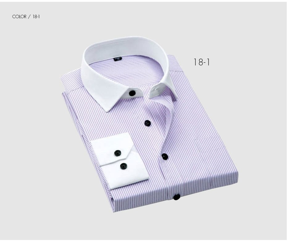 Collar Striped Shirts Mens Dress Shirts for Business