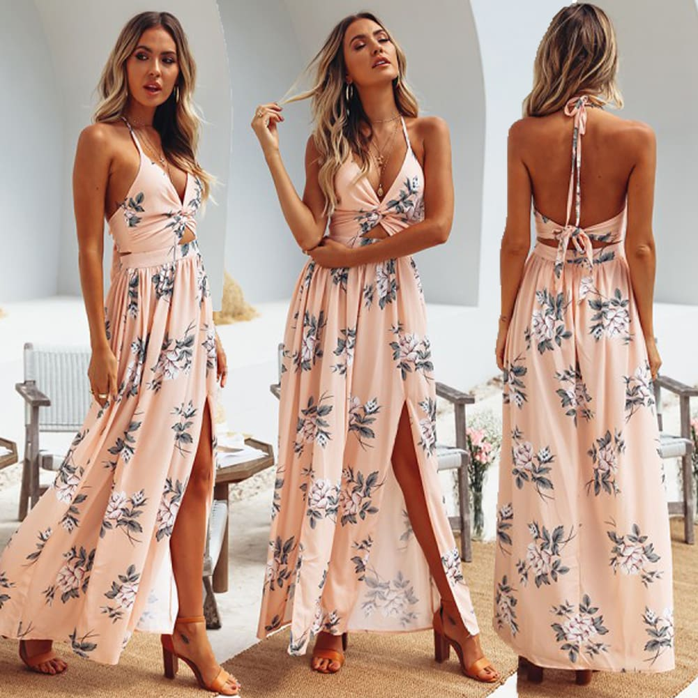 Women Long Boho Evening Party Plus Dress Print Flowers