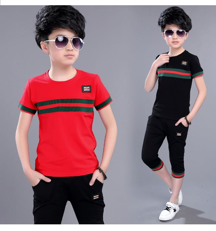 Casual Active Boys Clothes Set Summer Girls Teenage T Shirt Shorts Children Suit 2019 Kids Outfits Sports Clothing For Boys 2Pcs (10)