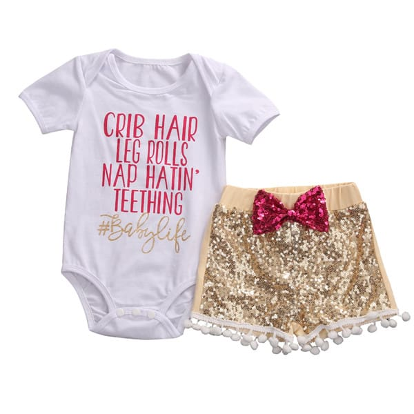 3Pcs Summer Baby Girl Clothes Summer Bodysuits Lovely Newborns Sequined Pants Top Bow Headhand Outfits Clothing Set 24M