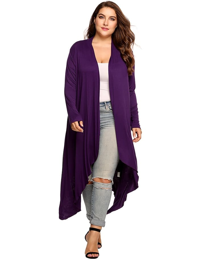 Women Cardigan Jacket Plus Size Autumn Open Front Solid Draped