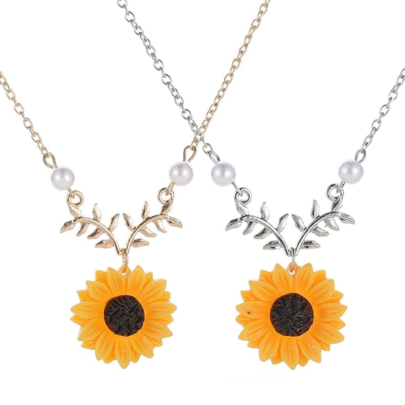 Delicate Sunflower Pendant Necklace For Women Creative Imitation Pearls Jewelry Necklace Clothes Accessories