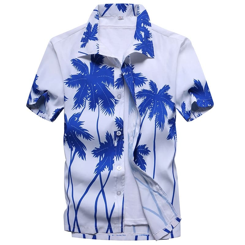 Mens Beach Hawaiian Shirt Short Sleeve Shirts Camisas