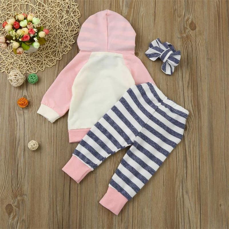 TELOTUNY  3pcs Toddler Baby Boy Girl Clothes Set Hoodie Tops+Pants+Headband Outfits Hot Sale Comfortable Clothes C0309 #30      10
