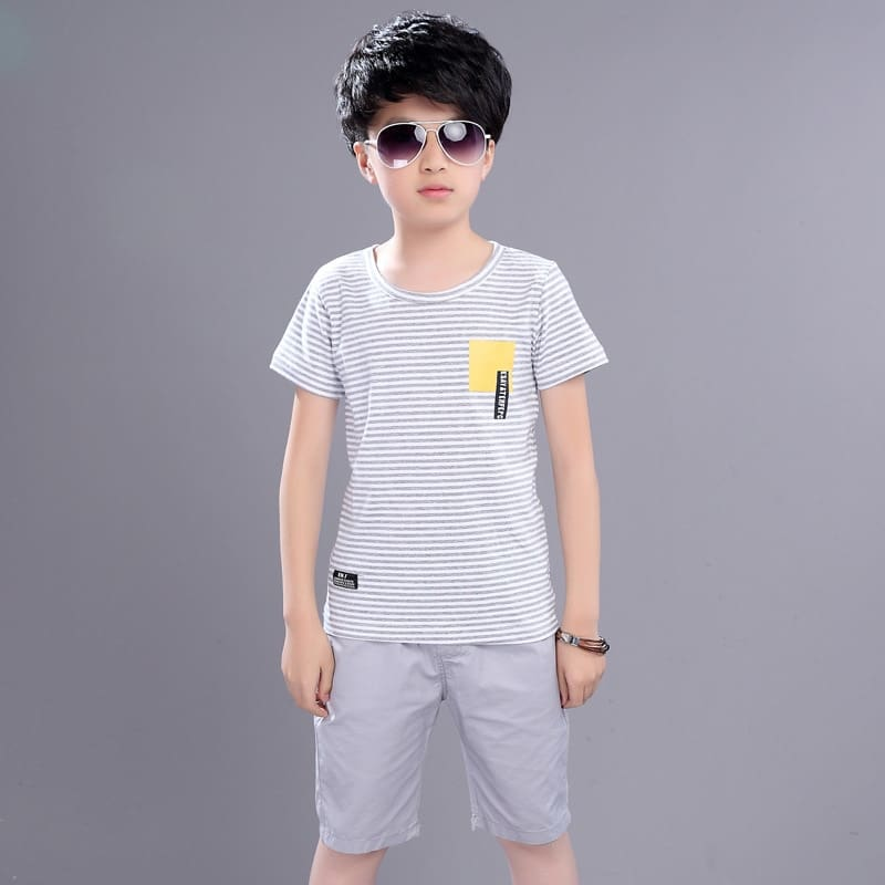 Kids Boys Summer New Suit Children Summer Wear In Childrens Short Sleeve +pant Two Piece Clothes Sets 4-12 Ages