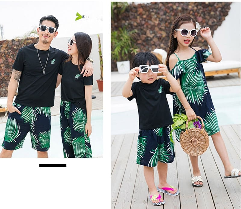 Family Clothing Summer Father Son T-Shirts Short Pants Women Girl Dresses Family Matching Outfits Mother Daughter Clothes Set