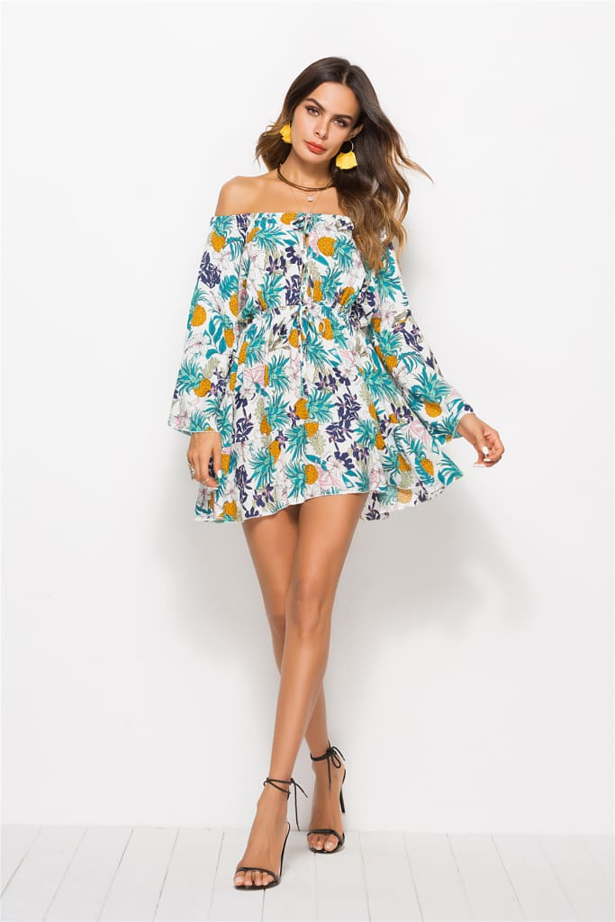Sunflower Print Swing Loose Summer Hawaii Dress Women Long Flare Sleeve Colorful Boho Floral Off Shoulder Slash Neck Beach Dress
