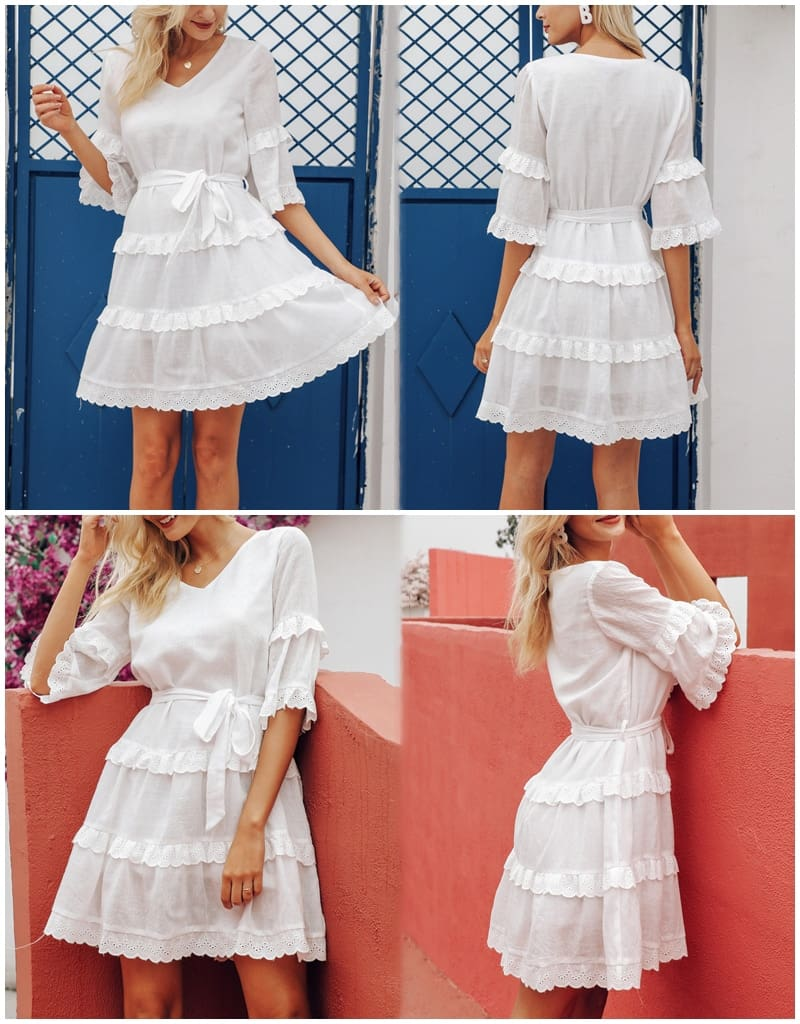 Casual embroidery cotton white dress female V-neck loose short dresses ladies
