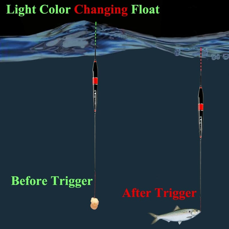 Smart Fishing Float Bite Alarm Fish Bite Bait LED Light Color Change Automatic Night Electronic Changing Buoy Strike Intelligent