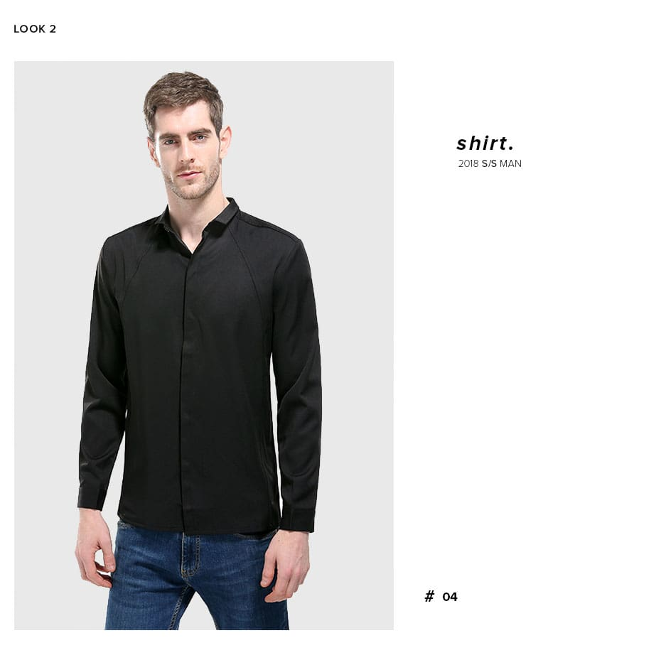 Cotton Long Sleeve Clothes Casual Solid Slim Fit Square Collar Business Shirt